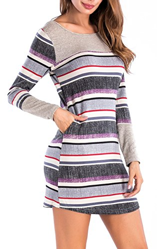 Sarin Mathews Womens Long Sleeve Pocket Dress Color Block Striped Knit Dresses Purple S