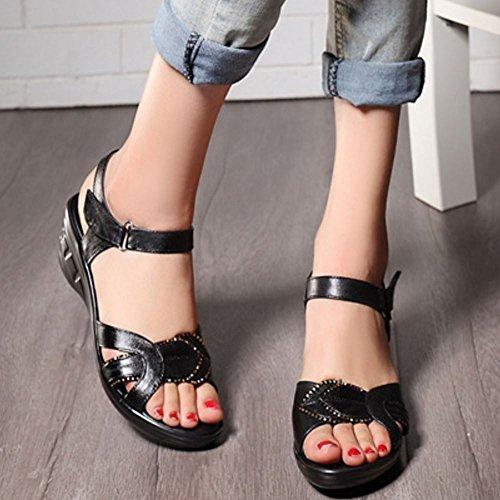 Summer Wedges 965 Noir Open TAOFFEN Velcro Slingback Comfortable Women Sandals Toe Heel qTfT4w