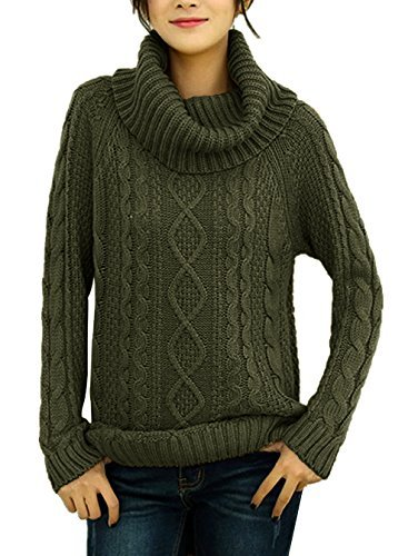 Neck Sweater Cowl Knit (v28 Women's Korean Design Turtle Cowl Neck Ribbed Cable Knit Long Sweater Jumper (M, ArmyGreen))