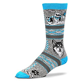 For Bare Feet Women's FBF Originals Wildlife Novelty Socks, Sled Team, Medium