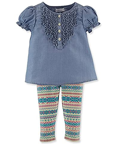 Ralph Lauren Baby Girls Chambray Ruffled Top & Fair Isle Leggings Set (6 Months)