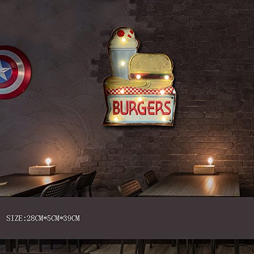 FAZH Retro Industrial Bar Cafe Creative Shape Iron Wall Lamp American Dessert Restaurant Eating Logo Instruction LED Wall Light Christmas/holiday decoration (5 styles) (Design : E) (Sconce Iron Weeks)