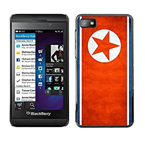 YOYO Prima Delgada SLIM Casa Carcasa Funda Case Bandera Cover Armor Shell PC / Aliminium //North Korea Grunge Flag //Blackberry Z10