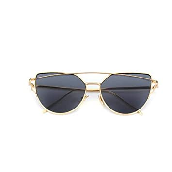 LLLM Gafas de sol Espejo de Oro Rosa Gafas de Sol para Mujer ...