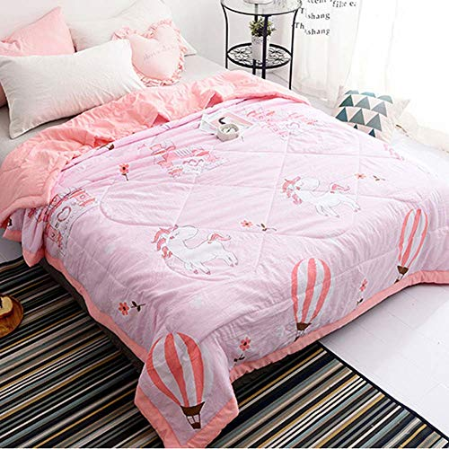 (CH&Q Unicorn Pink Castle Printed Quilt Comforter,Cute Cozy Lightweight Cotton Blanket Queen,Soft Warm Throw Blanket for Bed,Couch & Sofa,Bedding Coverlet (Queen 78''x 90'',Unicorn Pink Castle))