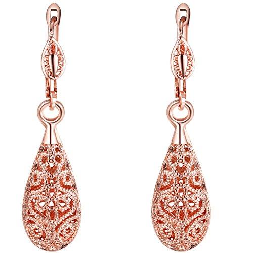 AMBESTEE Hollow Design Rose Gold Plated Drop Dangle Hoop Earrings Studs Set for Women Girls Christmas Gift