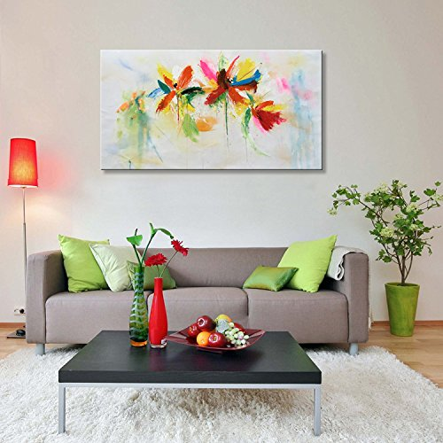 Seekland Art Hand Painted Abstract Floral Canvas Wall Art Modern Flower Oil Painting Colorful Picture Decor Hanging Contemporary Artwork for Living Room Framed Ready to Hang ( 56''W x 28''H) by Seekland Art