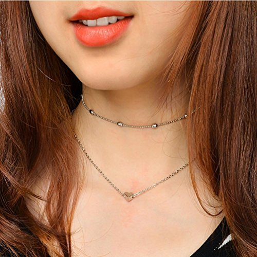 Fheaven Women Fashion Double Layer Heart Statement Chain Pendant Necklace Jewelry Gift (silver)