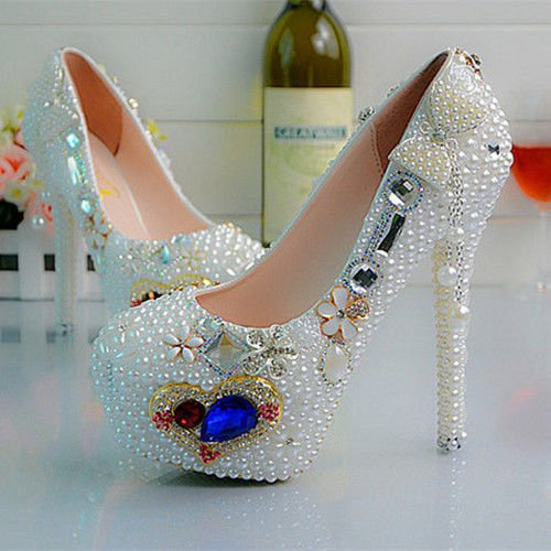 hauts blanc chaussures club JINGXINSTORE parti papillon ball mariage talons Perle coeur qwvw8RY