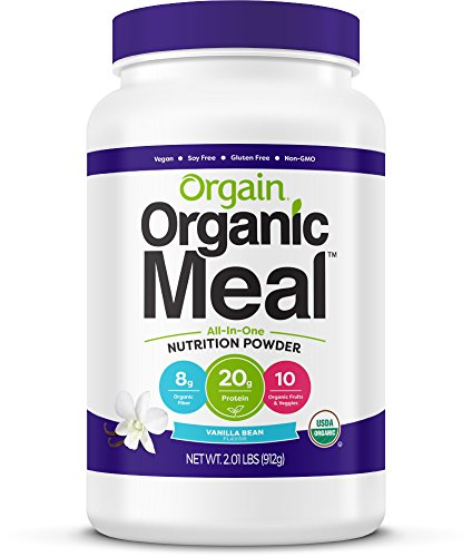 Orgain Organic Plant Based Meal Replacement Powder, Vanilla Bean - 20g Protein, Vegan, Dairy Free, Gluten Free, Lactose Free, Kosher, Non-GMO, 2.01 Pound (Packaging May Vary)