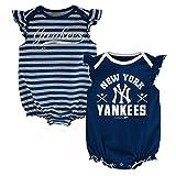 MLB New York Yankees Newborn Girls 2pk Creeper-0/3 Months, Athletic Navy