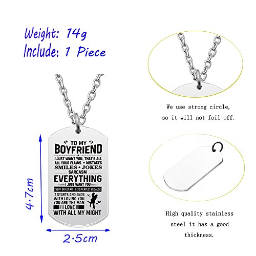 AGR8T Pendant Necklace Valentine Boyfriend Gift From Girlfriend - To My Boyfriend Everything I Just Want You by AGR8T (Image #2)