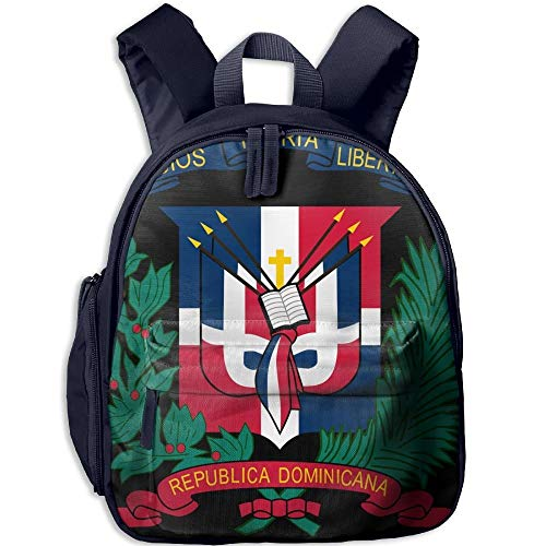 - Coat Of Arms Dominican Republic Flag Double Zipper Waterproof Children Schoolbag With Front Pockets For Kids Boys Girl