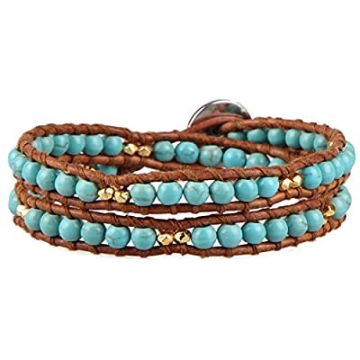 Cheap KELITCH Cultured-Turquoise Bead Brown Leather Double Wrap Bracelet