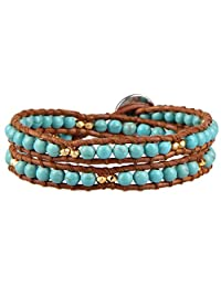 KELITCH Cultured-Turquoise Bead Brown Leather Double Wrap Bracelet
