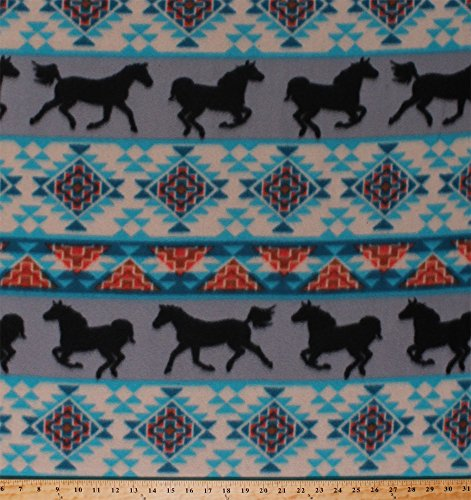 Fleece Southwestern Stripes Horses Equestrian Animals Turquoise Gray Orange Native American Aztec Spirit of the Southwest Striped Fleece Fabric Print by the Yard ()