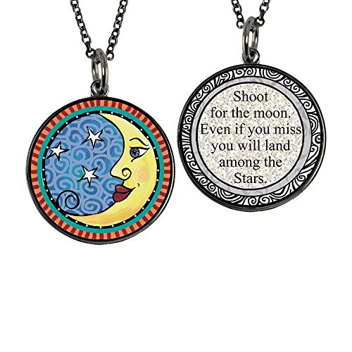 Spirit Lala Reversible Moon and Stars Circle Pendant Necklace with Card and Gift Box