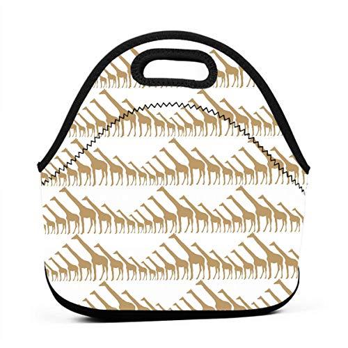 - Miniisoul Portable Bento Bag Giraffe Silhouette Clip Arts Reusable Lunch Bag Waterproof Picnic Tote Insulated Cooler Zipper Box