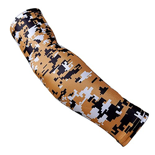 Gold Tour Short - Nexxgen Sports Apparel Moisture Wicking Compression Arm Sleeve (Single) - Men, Women, Adult & Youth - 40 Colors - Digital Camo & Elite (Large, Gold/Black/White)