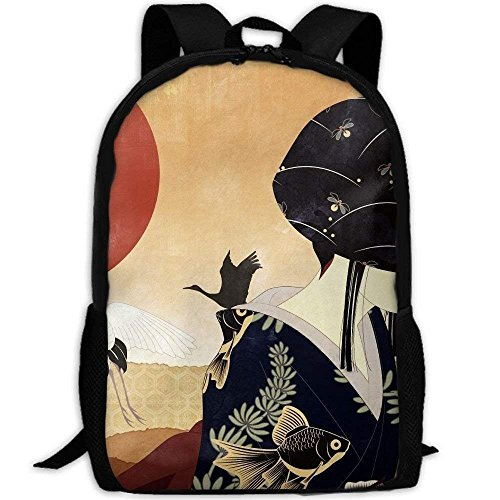Backpack Bamboo Japanese Cranes Art Womens Laptop Backpacks Shoulder Bag Travel Daypack