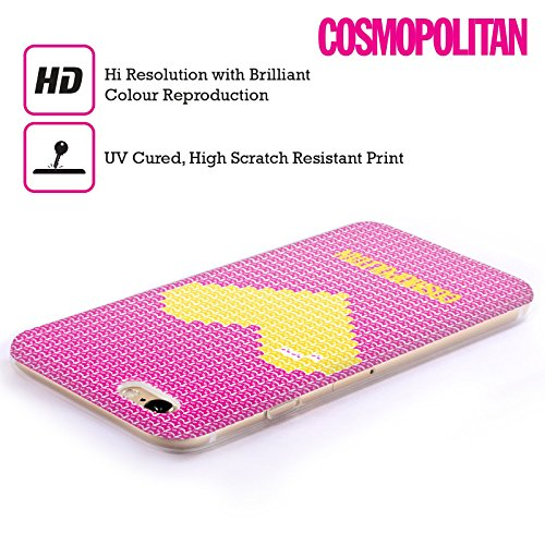 Official Cosmopolitan Yelow On Pink Pixel Heart Lovey Soft Gel Case for Apple iPhone 5c