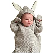 Newborn Receiving Blanket Baby Bunny Ear Knitted Swaddle Blanket Sleeping Wrap (Gray)