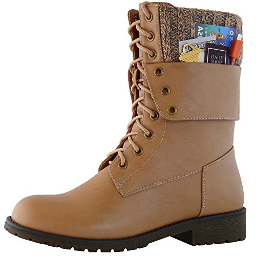 DailyShoes Womens Military Lace Up Buckle Combat Boots Ankle Mid Calf Fold-Down Exclusive Credit Card Pocket, Beige Pu, 8