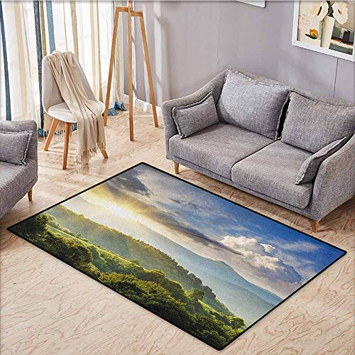 Pet Rug,Nature,Rising Sun Clouds Over Forest Hill Woodland Idyllic Countryside View,Extra Large Rug,4'7