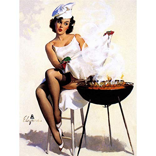 - Wee Blue Coo Painting Pinup Sexy Lady BBQ Barbecue Garden Dinner Unframed Wall Art Print Poster Home Decor Premium