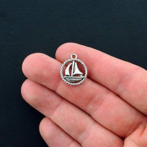 10 Sailboat Charms Antique Silver Tone 2 Sided Boat Circle Vintage Crafting Pendant Jewelry Making Supplies - DIY for Necklace Bracelet Accessories by CharmingSS