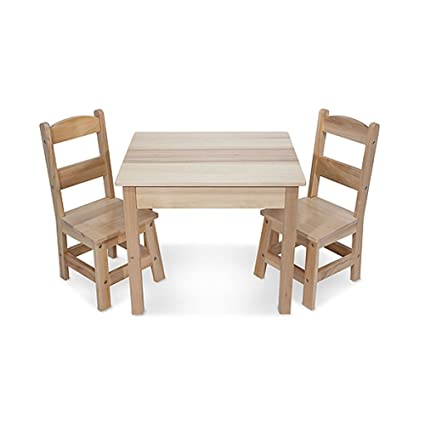 Amazon.com: Melissa & Doug Solid Wood Table and 2 Chairs Set - Light ...