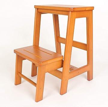 AINIYF Taburetes con peldaños de madera maciza Escalera con peldaños de tres capas Taburete plegable de doble uso Escalera de madera for el hogar multiusos: Amazon.es: Bricolaje y herramientas