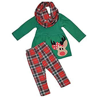 Amazon Unique Baby Girls 3 Piece Christmas Rudolph