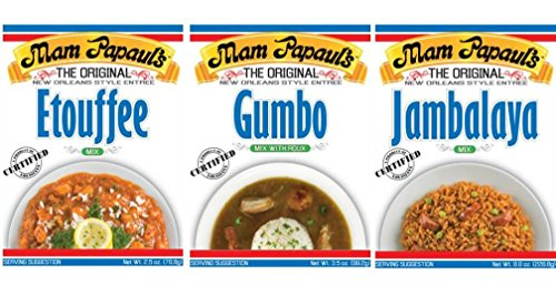 Mam Papaul's New Orleans Style Entree Mix 3 Flavor Variety Bundle: (1) Mam Papaul's Efouffee Mix, (1) Mam Papaul's Gumbo Mix With Roux, and (1) Mam Papaul's Jambalaya Mix, 2.5-8 Oz. Ea. (3 (Pasta 7 Ounce Box)