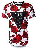 URBANTOPS Mens Hipster Hip Hop Triangle Rose Floral Longline T-Shirt White, M