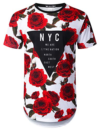 URBANTOPS Mens Hipster Hip Hop Triangle Rose Floral Longline T-Shirt White, S -