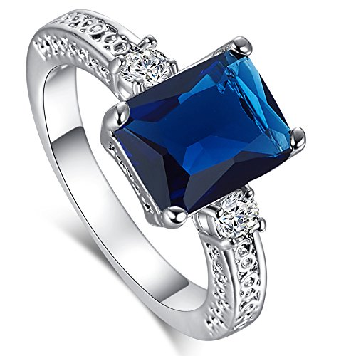 Psiroy 925 Sterling Silver Emerald Cut Created Blue Sapphire Filled Anniversary Ring Size 7