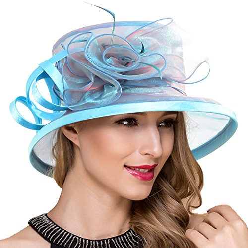 Lady Church Derby Dress Cloche Hat Fascinator Floral Tea Part Bucket Hat S051 (S043-Peacock Blue) by Ruphedy