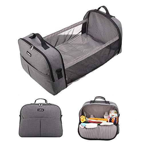 apollo walker 3 in 1 Diaper Bag Backpack with Changing Pad Large Nappy Bag Travel Kit Bassinet Crib Outdoor Home