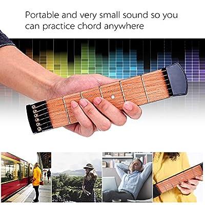 Pocket Guitar Practice Neck 2-Pack, Finger Exercise, Ohuhu 6 Fret Portable Guitar Trainer Practice Tool for Beginner Chord Trainer Fingering