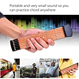 Ohuhu Wooden Pocket Guitar, 6 Fret Portable Guitar Practice Tool Gadget For Beginner Chord Trainer, Chord Fingering Pratice Tool