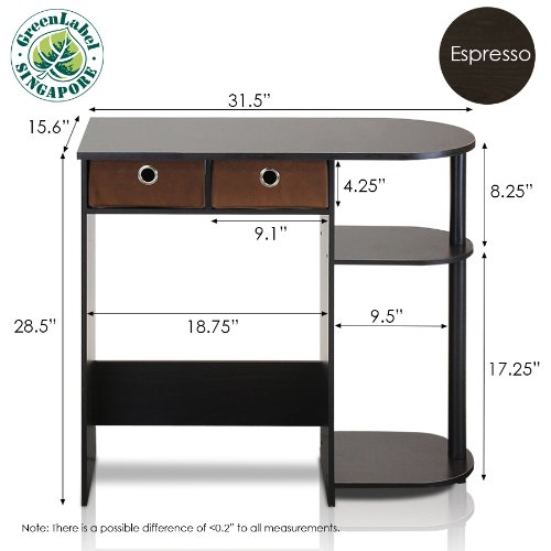 Furinno 11193EX/BK/BR Go Green Home Laptop Notebook Computer Desk/Table, Espresso/Black/Brown by Furinno (Image #2)
