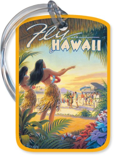 Fly To Hawaii by Kerne Erickson – Vintage Hawaiian Art Luggage Tag, Bags Central
