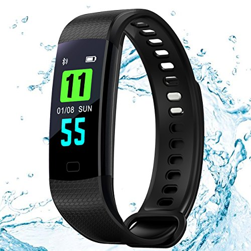Fitness Tracker Bands Color Display IP 67 Waterproof,Smart Wristband Bracelet with Sleep,Heart Rate Monitoring Watch Pedometer Calorie Calculation,Bluetooth 4.0 for Android iOS by Kooman