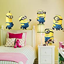 Removable Despicable Me 2 Minions Wall Sticker Decals for Kids Rooms (5 Minions)