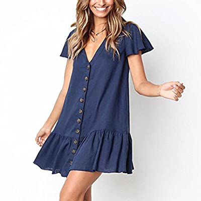 Women's Dresses Summer V-Neck Flare Sleeve Button Down Boho Casual Midi Dress