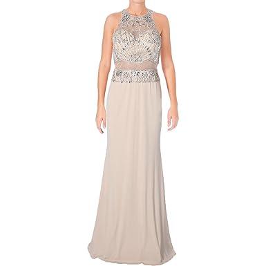 JVN by Jovani Womens Rhinestone Beaded Formal Dress - Beige -