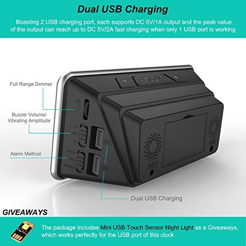 Digital Alarm Bed Shaker, Alarm, 7-inch Large Display, USB Charger, Dimmer, – Eye