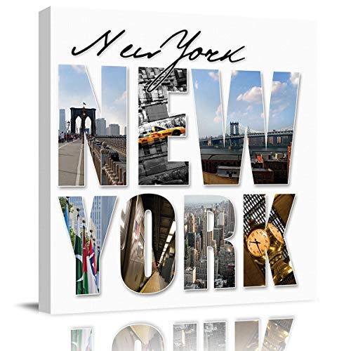 Arts Language Canvas Print Wall Art New York City Silhouette Stretched and Framed Modern Giclee Artwork for Office/Livingroom/Bedroom/Hallway -
