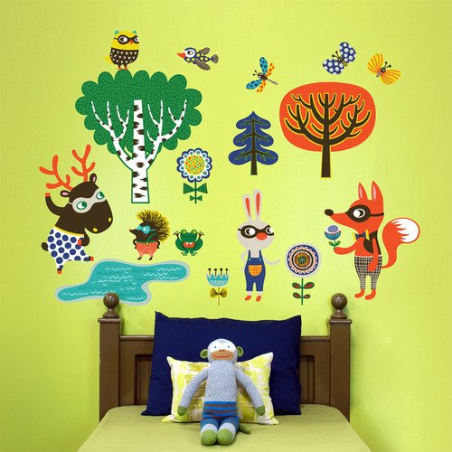 Oopsy Daisy Peel and Place Funky Woodland Creatures Boy by Helen Dardik, 54 by 60-Inch